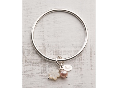 Mother of pearl flower + rose pink freshwater pearl charms