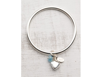 Sterling silver puff heart + aquamarine charms